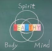 pic of spirit  - Healthy concept Spirit Body and Mind drawing on blackboard - JPG
