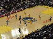 Warriors Stephen Curry Moves Ball Down Court