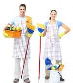 Cleaners man and woman . Isolated over white background