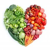 foto of food groups  - heart shape by various vegetables and fruits - JPG