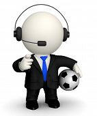3D Football commentator in a suit with headset ? isolated