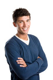 foto of teenage boys  - Young smiling latin man looking at camera isolated on white background - JPG