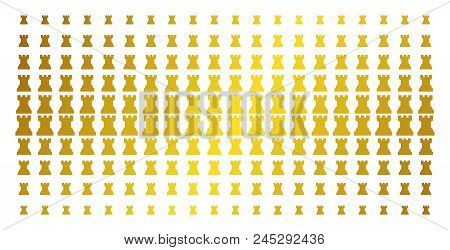 Chess Tower Icon Gold Colored