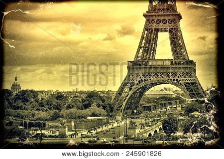 poster of Panorama Eiffel Tower In Paris. France. Vintage View. Tour Eiffel Old Retro Style.