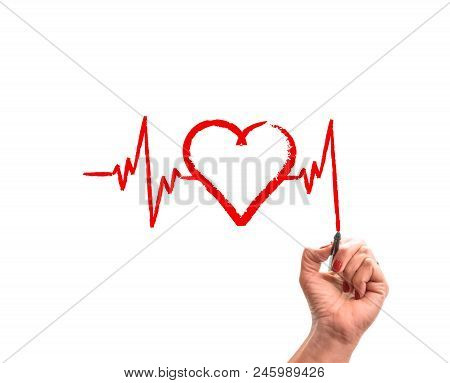 poster of Woman Hand With Pencil Draws Cardiogram Pulse Trace And Heart On White Isolated Background