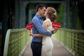 Young Man And Woman On A Walk In A City Park, Happiness, Love, Tenderness poster