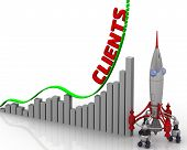 The Graph Of Clients Growth. Graph Of Rapid Growth With Red Word Clients And Rocket. 3d Illustration poster