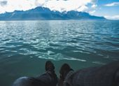 Editable Color Deep Green Tone Of  Sitting And Chill Out Moment At Lake With Mountain And Sky Backgr poster