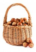 Wicker Basket With Hazelnuts