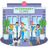 Cartoon Group Of Joyful Veterinarians With Pets Are At Entrance To Veterinary Clinic.vector Illustra poster