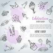 Birthday Party Doodle Background Card. Vector Template Banners For Poster, Invitation, Flyer, Party, poster