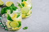 Infused Detox Water With Pineapple, Lime And Mint. Ice Cold Summer Cocktail Or Lemonade poster