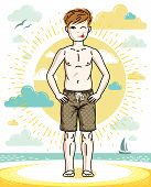Little Boy Standing In Colorful Stylish Beach Shorts. Vector Human Illustration. Fashion Theme Clipa poster