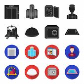 Trolley With Luggage, Safe, Swimming Pool, Clutch.hotel Set Collection Icons In Black, Flet Style Ve poster