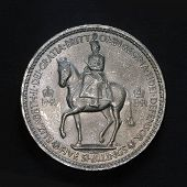 stock photo of shilling  - close up of five shilling coin - JPG