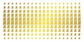 Script Roll Icon Golden Halftone Pattern. Vector Script Roll Items Are Organized Into Halftone Matri poster