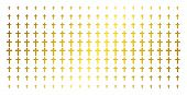 Religious Cross Icon Golden Halftone Pattern. Vector Religious Cross Items Are Organized Into Halfto poster
