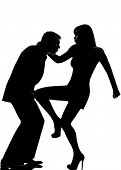 one caucasian couple man and woman self defense  domestic violence in studio silhouette isolated on