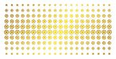 Cogwheel Icon Golden Halftone Pattern. Vector Cogwheel Items Are Arranged Into Halftone Array With I poster