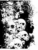 Vector Skulls Floral Illustration