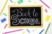 Back To School White Chalk Lettering On Blackboard With Colorful Art Supplies. Back To School Banner poster