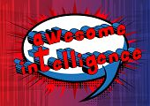 Awesome Intelligence - Comic Book Style Word On Abstract Background. poster