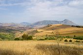 View Of The Countryside, Fields And Hills In The Region Of Ceria In Northern Sicily poster