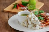 Steamed Crab Meat Prepared For Ready To Eat. Fresh Crab Meat Served With Thai Style Spicy Dipping Sa poster