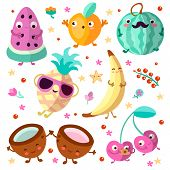 Happy Cartooning Fruits Vector Illustration. Set Of Tropical Childish Fruit, Relaxing And Happy, Iso poster