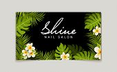 Nail Salon Business Card Design. Manicure Beauty Salon Banner With Tropic Leaves And Flower. poster