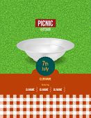 Picnic On Fresh Air. Invitation, Poster Template, Flyer For Passage To Event. Summer Festive Event P poster