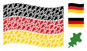 Waving Germany State Flag. Vector Oak Leaf Items Are Formed Into Mosaic German Flag Composition. Pat poster