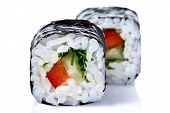 Traditional Fresh Japanese Sushi Rolls On A White Background, Close-up, Selective Focus. Sushi Food  poster