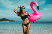 A Beautiful Sexy Amazing Young Woman On The Beach Sits On An Inflatable Pink Flamingo And Laughs, Ha poster