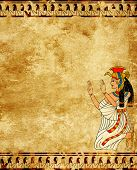 stock photo of isis  - Wall with Egyptian goddess image  - JPG