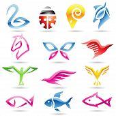 Iconos animales de colores abstractos
