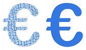 Euro Symbol Collage Icon Of Zero And One Symbols In Random Sizes. Vector Digit Symbols Are Organized poster