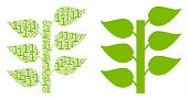 Flora Plant Composition Icon Of One And Zero Digits In Different Sizes. Vector Digit Symbols Are Arr poster