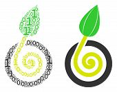 Seed Sprout Collage Icon Of Zero And Null Digits In Randomized Sizes. Vector Digits Are Organized In poster