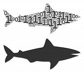 Shark Mosaic Icon Of Binary Digits In Various Sizes. Vector Digital Symbols Are Composed Into Shark  poster