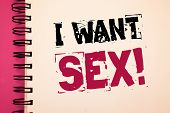 Conceptual Hand Writing Showing I Want Sex Motivational Call. Business Photo Showcasing To Desire Se poster