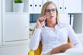 Thoughtful Woman Bored At Work, Looking Away Sitting Near Laptop, Demotivated Office Worker Feels La poster