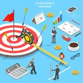 Flat Isometric Vector Concept Of Achievement Evaluation, Company Performance, Business Target. poster