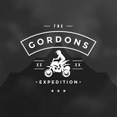 Atv Logo Emblem Vector Illustration. Off Road Mountains Expedition, Quad Bike And Man Silhouette Shi poster
