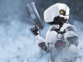 3d Rendering Of A Futuristic Robot Police Or Soldier Holding A Gun Surrounded By Smoke. poster