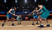 Four Basketball Players In Game On Basketball Arena poster