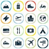 Traveling Icons Set With Suitcase, Departure, Suv And Other Metropolis Elements. Isolated  Illustrat poster