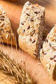 Closeup Macro Shot Of Bread With Seeds Sliced. Bread Sliced. poster