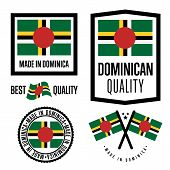 Постер, плакат: Dominica Quality Isolated Label Set For Goods Exporting Stamp With Dominican Flag Nation Manufactu