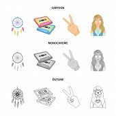 Amulet, Hippie Girl, Freedom Sign, Old Cassette.hippy Set Collection Icons In Cartoon, Outline, Mono poster